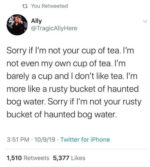 haunted: t7 You Retweeted  Ally  @TragicAllyHere  Sorry if I'm not your cup of tea. I'm  not even my own cup of tea. I'm  barely a cup and I don't like tea. I'm  more like a rusty bucket of haunted  bog water. Sorry if I'm not your rusty  bucket of haunted bog water.  3:51 PM · 10/9/19 Twitter for iPhone  1,510 Retweets 5,377 Likes