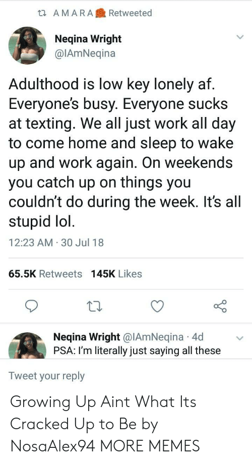 30 Jul: ta AMARARetweeted  Neqina Wright  @IAmNeqina  Adulthood is low key lonely af  Everyone's busy. Everyone sucks  at texting. We all just work all day  to come home and sleep to wake  up and work again. On weekends  you catch up on things you  couldn't do during the week. It's all  stupid lol  12:23 AM 30 Jul 18  65.5K Retweets 145K Likes  Neqina Wright @IAmNeqina 4d  PSA: I'm literally just saying all these  Tweet your reply Growing Up Aint What Its Cracked Up to Be by NosaAlex94 MORE MEMES