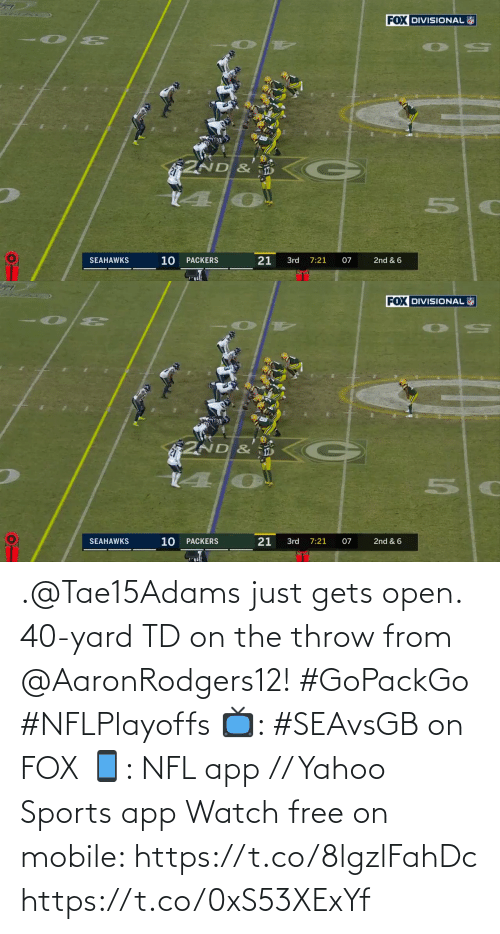 From: .@Tae15Adams just gets open.  40-yard TD on the throw from @AaronRodgers12! #GoPackGo #NFLPlayoffs  📺: #SEAvsGB on FOX 📱: NFL app // Yahoo Sports app Watch free on mobile: https://t.co/8lgzlFahDc https://t.co/0xS53XExYf