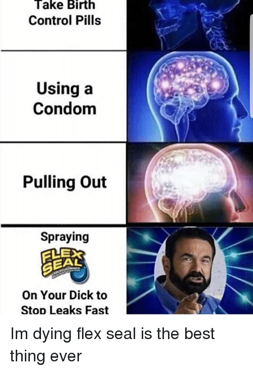 Condom, Flexing, and Memes: Take Birth  Control Pills  Using a  Condom  Pulling Out  Spraying  GEAL  On Your Dick to  Stop Leaks Fast Im dying flex seal is the best thing ever
