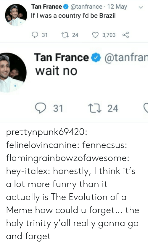 Evolution Of: Tan France@tanfrance 12 May  If l was a country l'd be Brazil  31 ti 24 3,703  Tan France  wait no  @tanfran  31 t  24 prettynpunk69420:  felinelovincanine:  fennecsus:   flamingrainbowzofawesome:  hey-italex: honestly, I think it's a lot more funny than it actually is The Evolution of a Meme  how could u forget…   the holy trinity  y'all really gonna go and forget