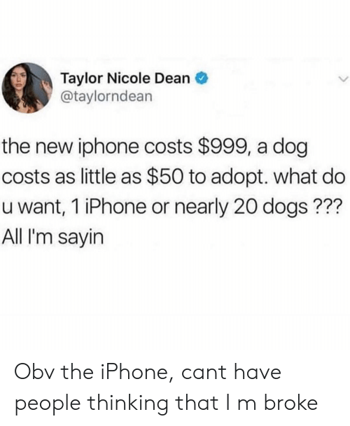 Dogs, Iphone, and New Iphone: Taylor Nicole Dean  @taylorndean  the new iphone costs $999, a dog  costs as little as $50 to adopt. what do  u want, 1 iPhone or nearly 20 dogs???  All I'm sayin Obv the iPhone, cant have people thinking that I m broke