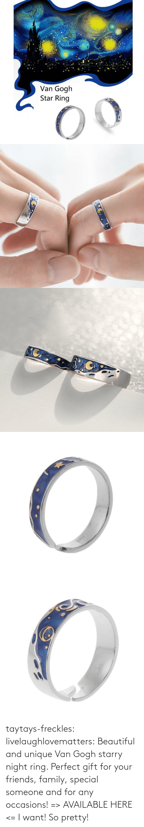 ring: taytays-freckles: livelaughlovematters:  Beautiful and unique Van Gogh starry night ring. Perfect gift for your friends, family, special someone and for any occasions! =>AVAILABLE HERE <=    I want! So pretty!