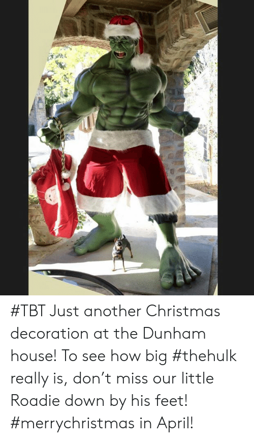 Christmas, Dank, and Tbt: #TBT Just another Christmas decoration at the Dunham house! To see how big #thehulk really is, don't miss our little Roadie down by his feet! #merrychristmas in April!