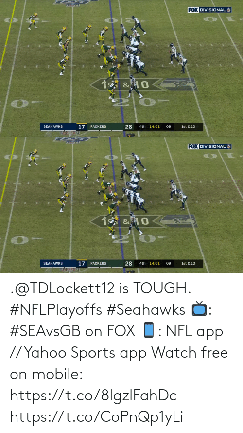 Tough: .@TDLockett12 is TOUGH. #NFLPlayoffs #Seahawks  📺: #SEAvsGB on FOX 📱: NFL app // Yahoo Sports app Watch free on mobile: https://t.co/8lgzlFahDc https://t.co/CoPnQp1yLi