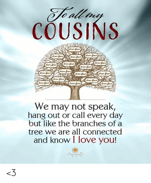 Love, Memes, and I Love You: Te all ny  COUSINS  rm Spaun  rm paun  oram Spaum  ompn  Loram an  am paun  lram Spaun  lom pun  ram Spaun  mSpun  rampoun  am an  orem Spaun  We may not speak,  hang out or call every day  but like the branches of  tree we are all connected  and know I love you! <3