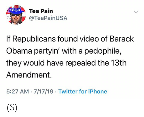 Barack Obama: Tea Pain  @TeaPainUSA  If Republicans found video of Barack  Obama partyin' with a pedophile,  they would have repealed the 13th  Amendment.  5:27 AM 7/17/19 Twitter for iPhone (S)