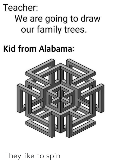 Alabama: Teacher:  We are going to draw  our family trees.  Kid from Alabama: They like to spin