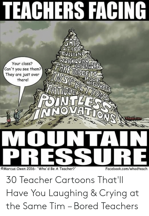 Bored, Crying, and Facebook: TEACHERS FACING  SATS  STAFF  BULLYING  WORKLOAD  AERWORK  FAKETARGETS  Your class?  TNSPECTIONS  FATICUE  POINTLESS  INNOVATIONS  Can't you see them?  They are just over  there!  POOR  RESOURGES  MOUNTAIN  PRESSURE  Facebook.com/whodteach  Marcus Owen 2016- Who'd Be A Teacher? 30 Teacher Cartoons That'll Have You Laughing & Crying at the Same Tim – Bored Teachers