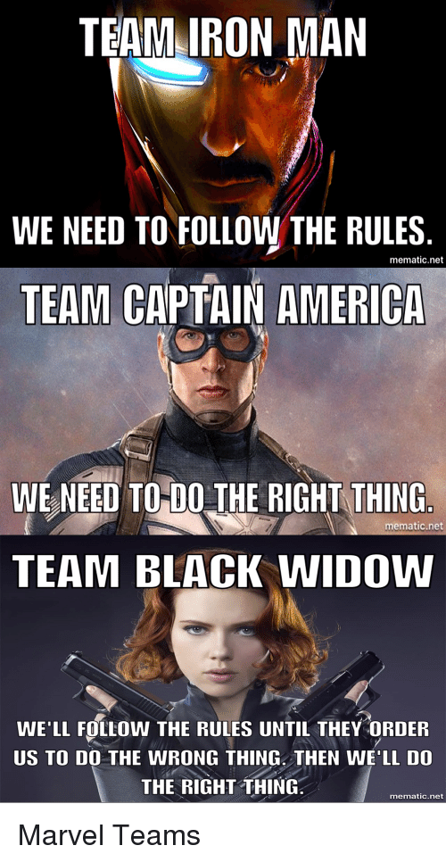 Team Iron Man We Need To Follow The Rules Mematic Net Team