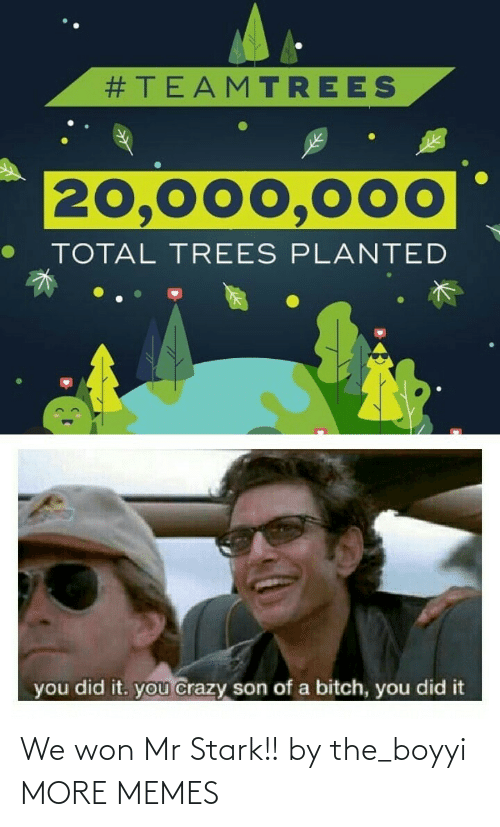 Trees:  #TEAMTREES  20,000,000  TOTAL TREES PLANTED  you did it. you crazy son of a bitch, you did it We won Mr Stark!! by the_boyyi MORE MEMES