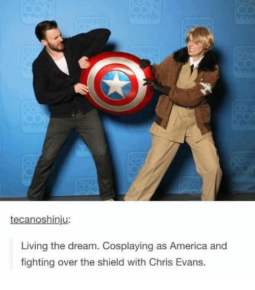 The Shield: tecanoshinju:  Living the dream. Cosplaying as America and  fighting over the shield with Chris Evans.