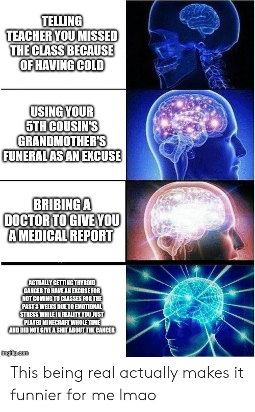 Doctor, Lmao, and Minecraft: TELLING  TEACHER YOU MISSED  THE CLASS BECAUSE  OF HAVING COLD  USING YOUR  5TH COUSIN'S  GRANDMOTHERS  FUNERALAS ANEXCUSE  BRIBINGA  DOCTOR TOGIVE YOU  AMEDICAL REPORT  ACTUALLY GETTING THYROID  CANCER TO HAVE AN EXCUSE FOR  NOT COMING TO CLASSES FOR THE  PAST 3 WEEKS DUE TO EMOTIONAL  STRESS WHILE IN REALITY YOU JUST  PLAYED MINECRAFT WHOLE TIME  AND DID NOT GIVE A SHIT ABOUT THE CANCER  imgiip.com This being real actually makes it funnier for me lmao