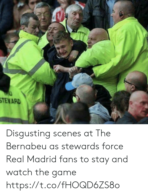 Memes, Real Madrid, and The Game: TENARD Disgusting scenes at The Bernabeu as stewards force Real Madrid fans to stay and watch the game https://t.co/fHOQD6ZS8o