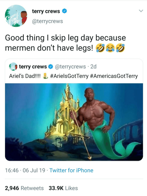 dont: terry crews  Gome  ind  @terrycrews  Good thing I skip leg day because  mermen don't have legs!  terry crews O  @terrycrews 2d  Ariel's Dad!!!! L #ArielsGotTerry #AmericasGotTerry  16:46 · 06 Jul 19 · Twitter for iPhone  2,946 Retweets 33.9K Likes