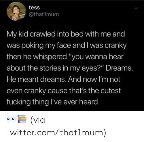 """Dank, Fucking, and Twitter: tess  @that1mum  My kid crawled into bed with me and  was poking my face and I was cranky  then he whispered """"you wanna hear  about the stories in my eyes?"""" Dreams.  He meant dreams. And now I'm not  even cranky cause that's the cutest  fucking thing I've ever heard 👀📚  (via Twitter.com/that1mum)"""