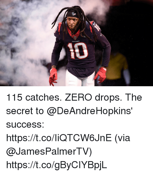Memes, Zero, and Texans: TEXANS 115 catches. ZERO drops.  The secret to @DeAndreHopkins' success: https://t.co/IiQTCW6JnE (via @JamesPalmerTV) https://t.co/gByCIYBpjL
