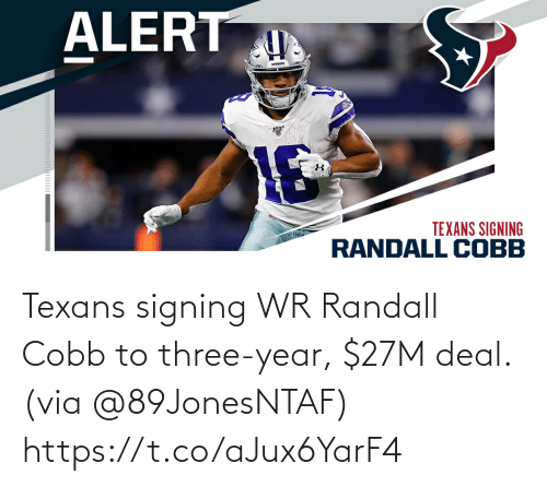 Texans: Texans signing WR Randall Cobb to three-year, $27M deal. (via @89JonesNTAF) https://t.co/aJux6YarF4