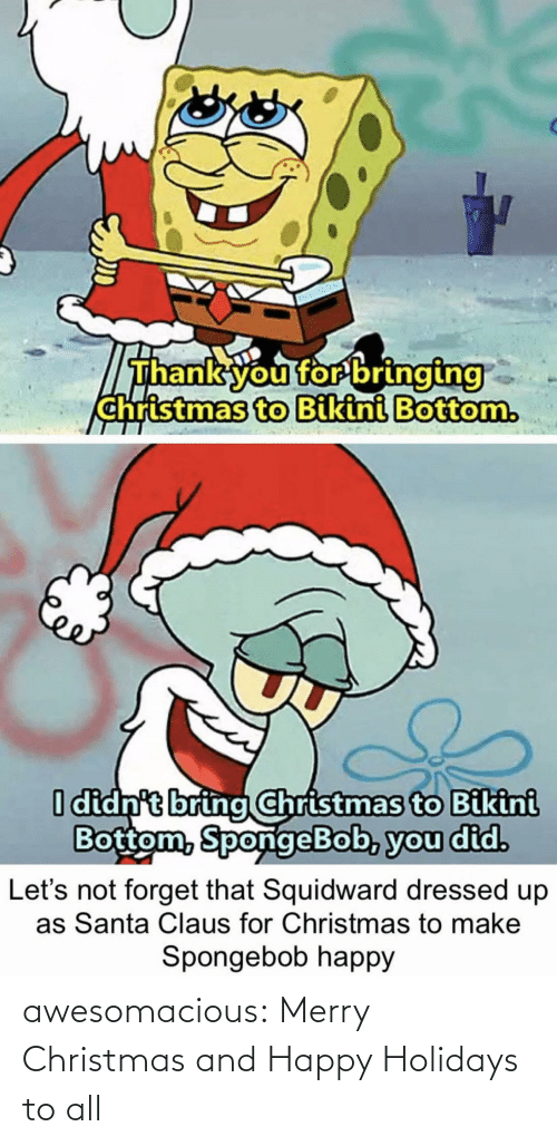 Merry Christmas: Thank you for bringing  christmas to Bikini Bottom.  I didn't bring Christmas to Bikini  Bottom, SpongeBob, you did.  forget that Squidward dressed up  as Santa Claus for Christmas to make  Let's  Spongebob happy awesomacious:  Merry Christmas and Happy Holidays to all