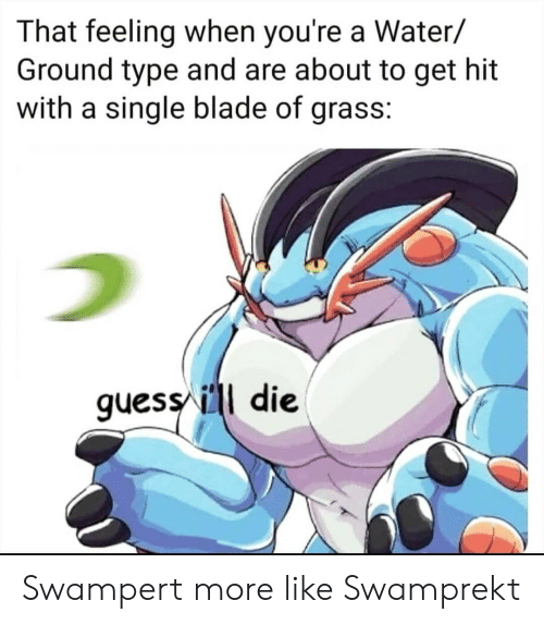 Blade, Water, and That Feeling When: That feeling when you're a Water/  Ground type and are about to get hit  with a single blade of grass:  quess/ ill die Swampert more like Swamprekt