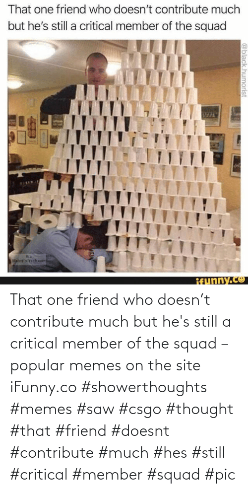 hes: That one friend who doesn't contribute much but he's still a critical member of the squad – popular memes on the site iFunny.co #showerthoughts #memes #saw #csgo #thought #that #friend #doesnt #contribute #much #hes #still #critical #member #squad #pic