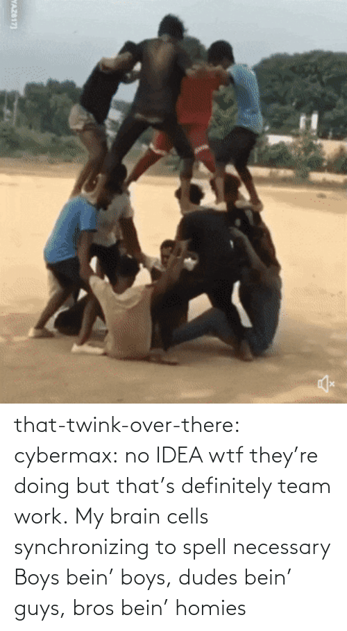 no idea: that-twink-over-there: cybermax: no IDEA wtf they're doing but that's definitely team work.   My brain cells synchronizing to spell necessary    Boys bein' boys, dudes bein' guys, bros bein' homies