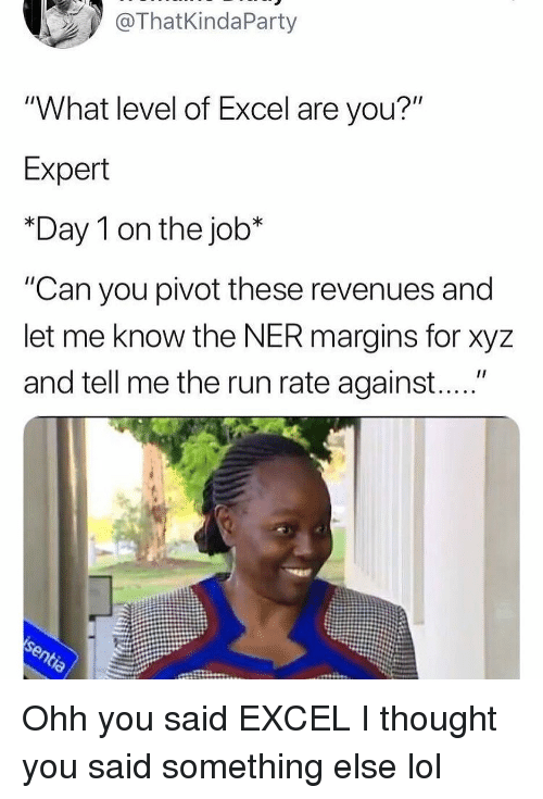 """xyz: ThatKindaParty  """"What level of Excel are you?""""  Expert  *Day 1 on the job*  """"Can you pivot these revenues and  let me know the NER margins for xyz  and tell me the run rate against...."""" Ohh you said EXCEL I thought you said something else lol"""