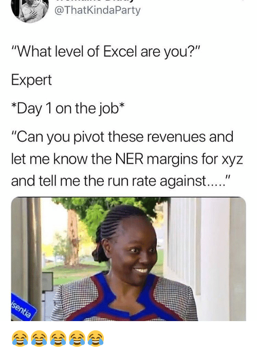 """xyz: ThatKindaParty  """"What level of Excel are you?""""  Expert  *Day 1 on the job*  """"Can you pivot these revenues and  let me know the NER margins for xyz  and tell me the run rate against...."""" 😂😂😂😂😂"""