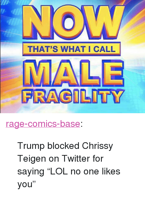 "Chrissy Teigen, Tumblr, and Twitter: THAT'S WHAT I CALL  FRAGILITY <p><a href=""http://ragecomicsbase.com/post/163418654237/trump-blocked-chrissy-teigen-on-twitter-for-saying"" class=""tumblr_blog"">rage-comics-base</a>:</p>  <blockquote><p>Trump blocked Chrissy Teigen on Twitter for saying ""LOL no one likes you""</p></blockquote>"