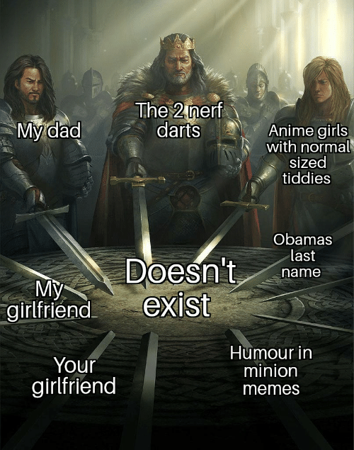 Girlfriend Memes: The 2 nerf  darts  My dad  Anime girls  with normal  sized  tiddies  Obamas  last  Doesn't  exist  name  My  girlfriend  Humour in  minion  Your  girlfriend  memes