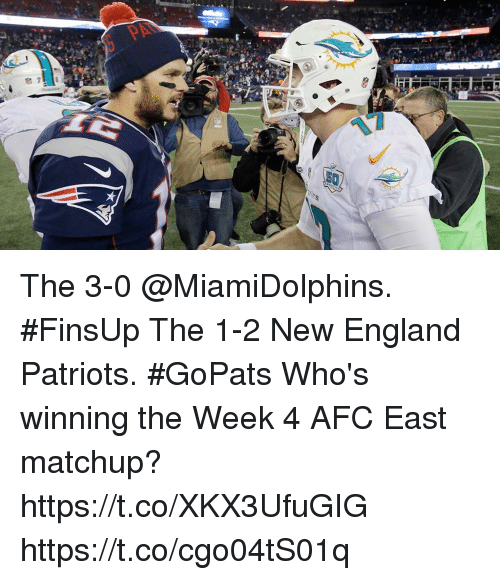 New England Patriots: The 3-0 @MiamiDolphins. #FinsUp The 1-2 New England Patriots. #GoPats  Who's winning the Week 4 AFC East matchup? https://t.co/XKX3UfuGIG https://t.co/cgo04tS01q