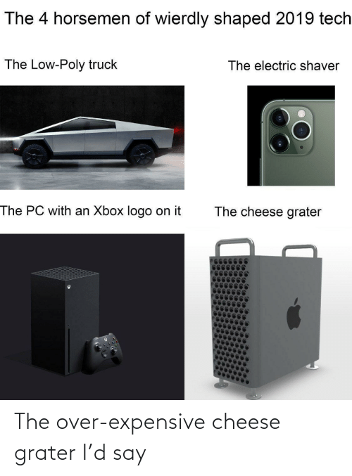 expensive: The 4 horsemen of wierdly shaped 2019 tech  The Low-Poly truck  The electric shaver  The PC with an Xbox logo on it  The cheese grater The over-expensive cheese grater I'd say