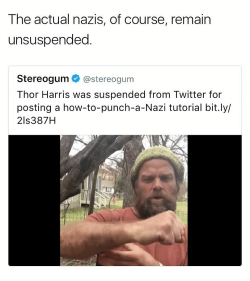 suspender: The actual nazis, of course, remain  unsuspended  Stereogum  @stereogum  Thor Harris was suspended from Twitter for  posting a how-to-punch-a-Nazi tutorial bit.ly/  21s387H