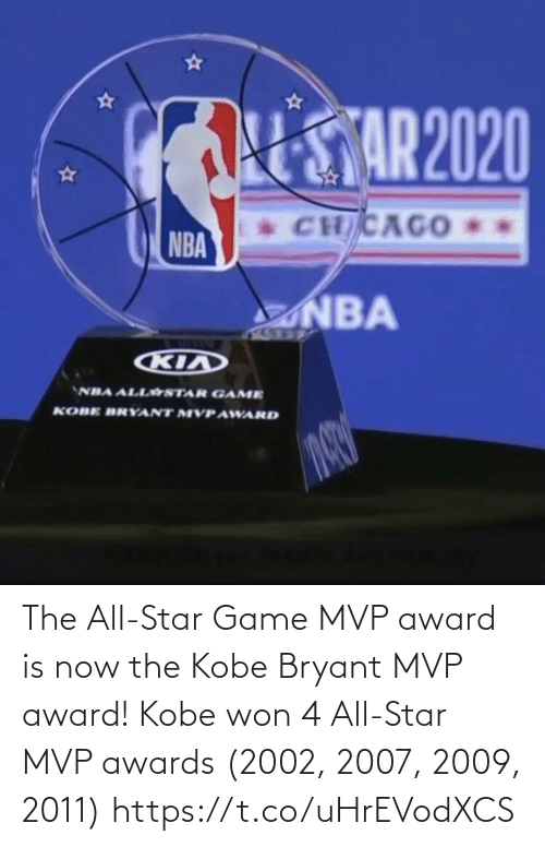 Kobe: The All-Star Game MVP award is now the Kobe Bryant MVP award!   Kobe won 4 All-Star MVP awards (2002, 2007, 2009, 2011) https://t.co/uHrEVodXCS