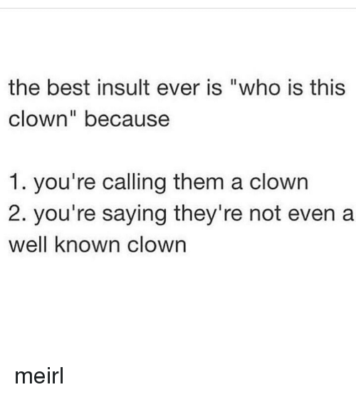 "Best, MeIRL, and Who: the best insult ever is ""who is this  clown"" because  1. you're calling them a clowrn  2. you're saying they're not even a  well known clown meirl"