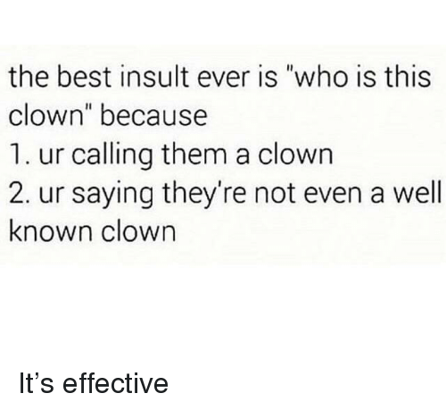 "Best, Who, and Clown: the best insult ever is ""who is this  clown"" because  1. ur calling them a clown  2. ur saying they're not even a well  known clown It's effective"