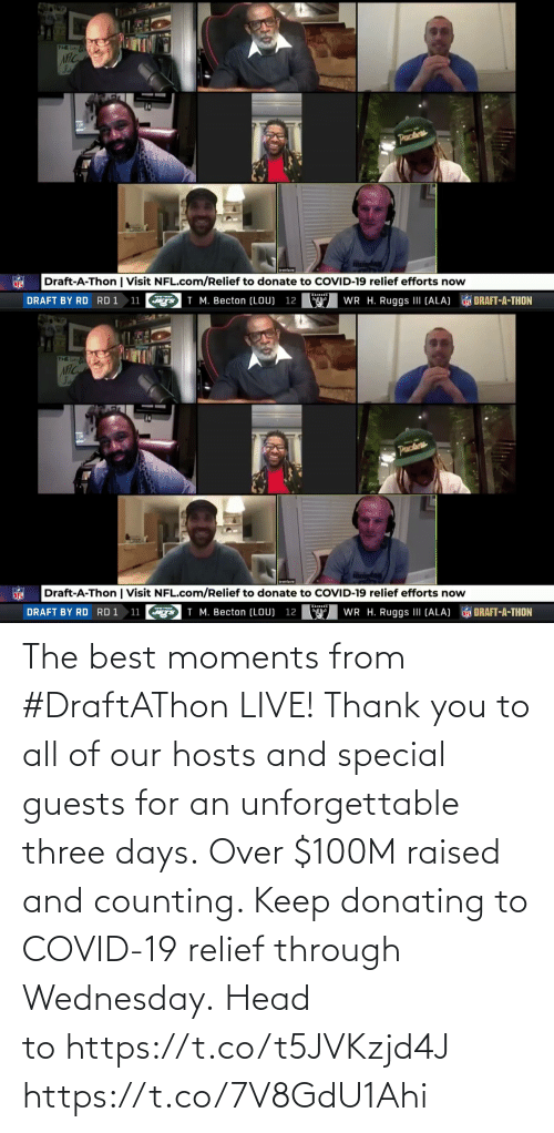 Wednesday: The best moments from #DraftAThon LIVE!  Thank you to all of our hosts and special guests for an unforgettable three days.  Over $100M raised and counting. Keep donating to COVID-19 relief through Wednesday. Head tohttps://t.co/t5JVKzjd4J https://t.co/7V8GdU1Ahi