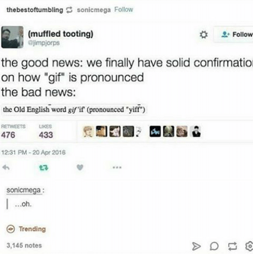 """Toots: the bestoftumbling sonicmega Follow  (muffled tooting)  Follow  ajmplorps  the good news: we finally have solid confirmatio  on how """"gif"""" is pronounced  the bad news:  the old English word girif (pronounced """"yiff  RETWEETS UKES  476  433  12:31 PM 20 Apr 2016  ta  Sonic  Trending  3,145 notes"""