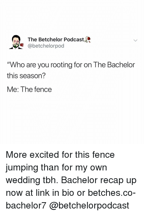 """Tbh, Bachelor, and Link: The Betchelor Podcast,  @betchelorpod  """"Who are you rooting for on The Bachelor  this season?  Me: The fence More excited for this fence jumping than for my own wedding tbh. Bachelor recap up now at link in bio or betches.co-bachelor7 @betchelorpodcast"""