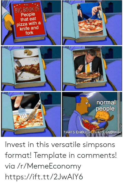 template: THE  BIG BOOK OF  People  that eat  pizza with a  knife and  fork  normal  реople  THAT'S ENOUGH THATS ENOUGH Invest in this versatile simpsons format! Template in comments! via /r/MemeEconomy https://ift.tt/2JwAIY6