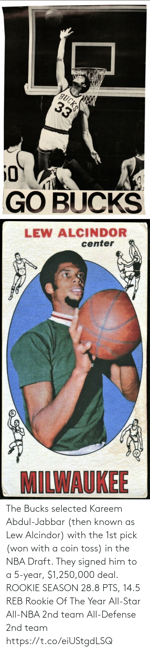 Selected: The Bucks selected Kareem Abdul-Jabbar (then known as Lew Alcindor) with the 1st pick (won with a coin toss) in the NBA Draft. They signed him to a 5-year, $1,250,000 deal.   ROOKIE SEASON 28.8 PTS, 14.5 REB Rookie Of The Year All-Star All-NBA 2nd team All-Defense 2nd team https://t.co/eiUStgdLSQ