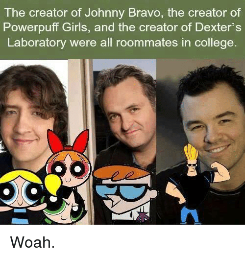 College, Girls, and Johnny Bravo: The creator of Johnny Bravo, the creator of  Powerpuff Girls, and the creator of Dexter's  Laboratory were all  roommates in college Woah.