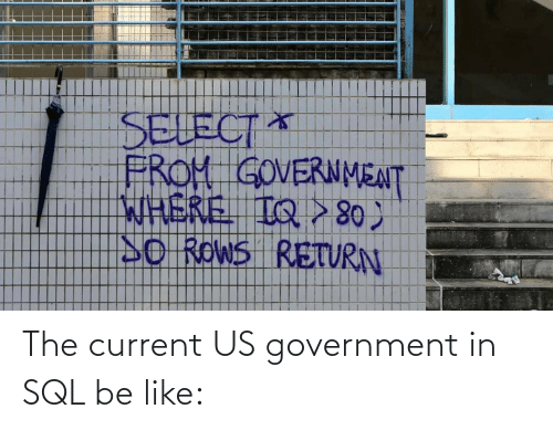 Government: The current US government in SQL be like: