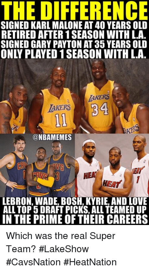 Karling: THE DIFFERENCE  SIGNED KARL MALONE AT40YEARS OLD  RETIRED AFTER1SEASON WITH L.A  SIGNED GARY PAYTON AT 35 YEARS OLD  AKERS  LAKERS  ONBAMEMES  HEAT  LEBRON WADE BOSH, KYRIE AND OVE  ALL TOP 5 DRAFT PICKS, ALL TEAMED UP  IN THE PRIME OF THEIR CAREERS Which was the real Super Team? #LakeShow #CavsNation #HeatNation