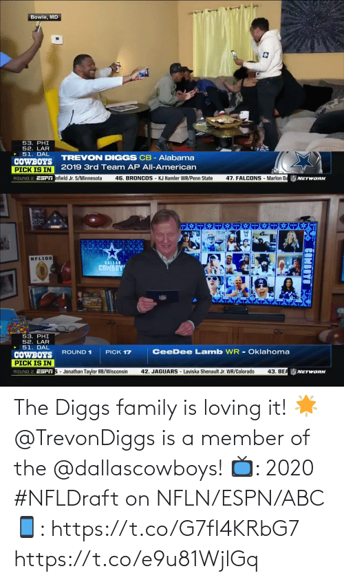 ABC: The Diggs family is loving it! 🌟  @TrevonDiggs is a member of the @dallascowboys!  📺: 2020 #NFLDraft on NFLN/ESPN/ABC 📱: https://t.co/G7fI4KRbG7 https://t.co/e9u81WjlGq