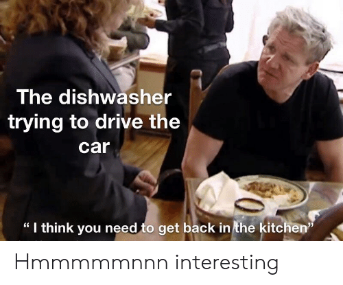 "Drive, Dank Memes, and Back: The dishwasher  trying to drive the  car  "" I think you need to get back in the kitchen""  35 Hmmmmmnnn interesting"