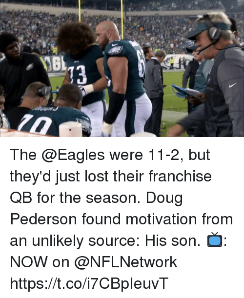 Doug, Philadelphia Eagles, and Memes: The @Eagles were 11-2, but they'd just lost their franchise QB for the season.  Doug Pederson found motivation from an unlikely source: His son.  📺: NOW on @NFLNetwork https://t.co/i7CBpIeuvT