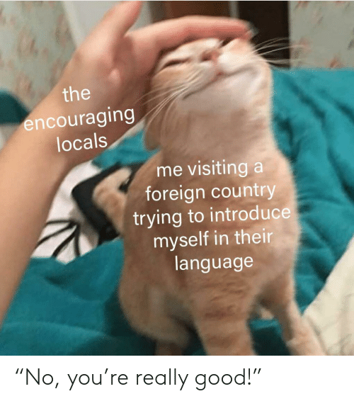 """Good, Language, and You: the  encouraging  locals  me visiting a  foreign country  trying to introd uce  myself in their  language """"No, you're really good!"""""""