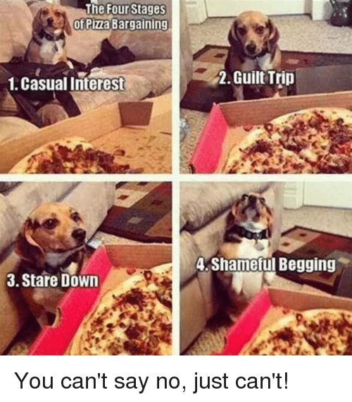 Dank, 🤖, and Down: The Four Stages  Pizza Bargaining  1. Casual Interest  3. Stare Down  2. Guilt Trip  A. Shameul Begging You can't say no, just can't!