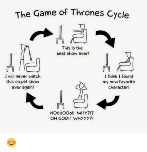 whyyy: The Game of Thrones C  This is the  best show ever!  I will never watch  I think I found  this stupid show  my new favorite  ever again!  character!  NOOOOOO!! WHY?!?  OH GOD!! WHYYY?! 😊